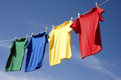 Clothes hang drying