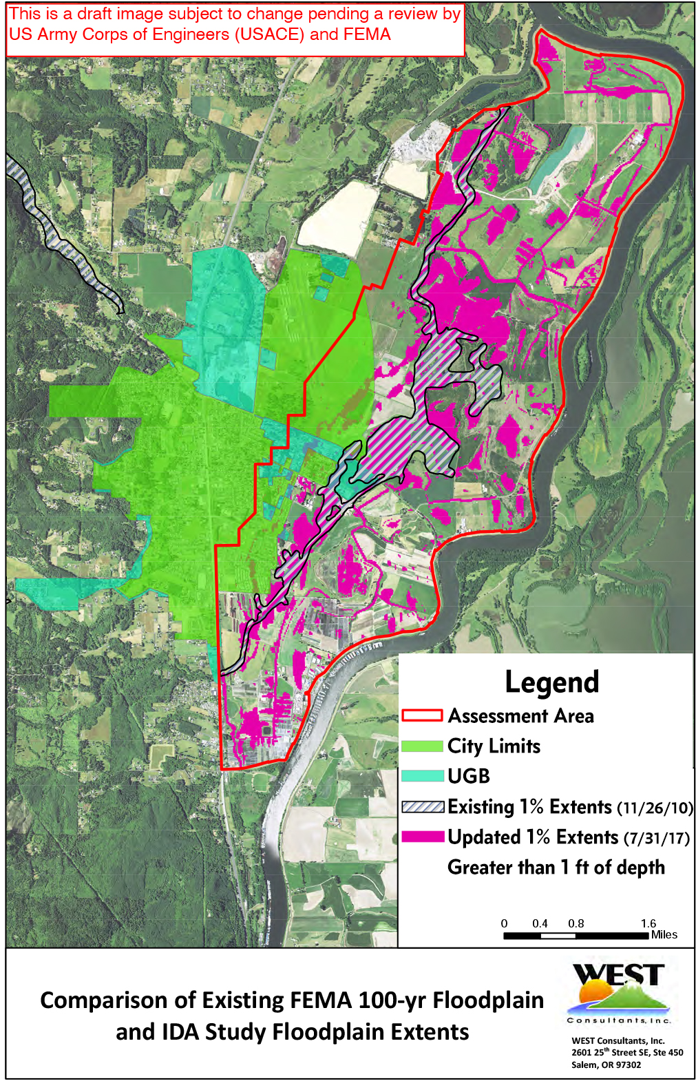 A map illustrating the 100-year FEMA floodplain in Scappoose.