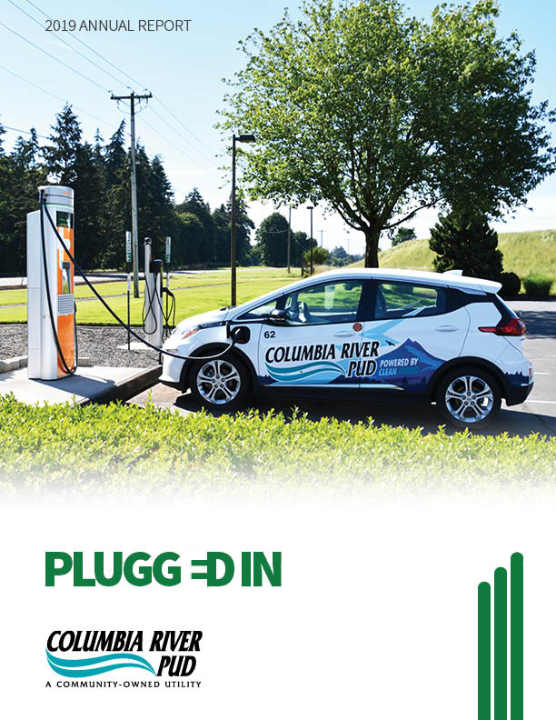 Columbia River PUD's Chevy Bolt Electric Vehicle plugged into a DC Fast Charger.