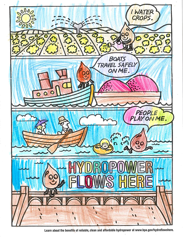A scene depicting the benefits of hydropower colored by a young artist.