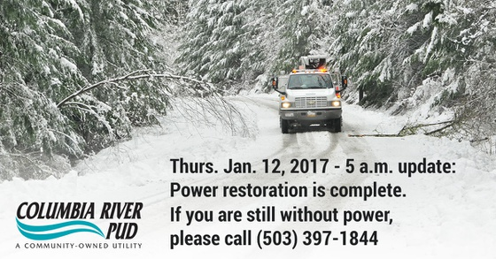 Outage Restoration is Complete - Jan 12, 2017