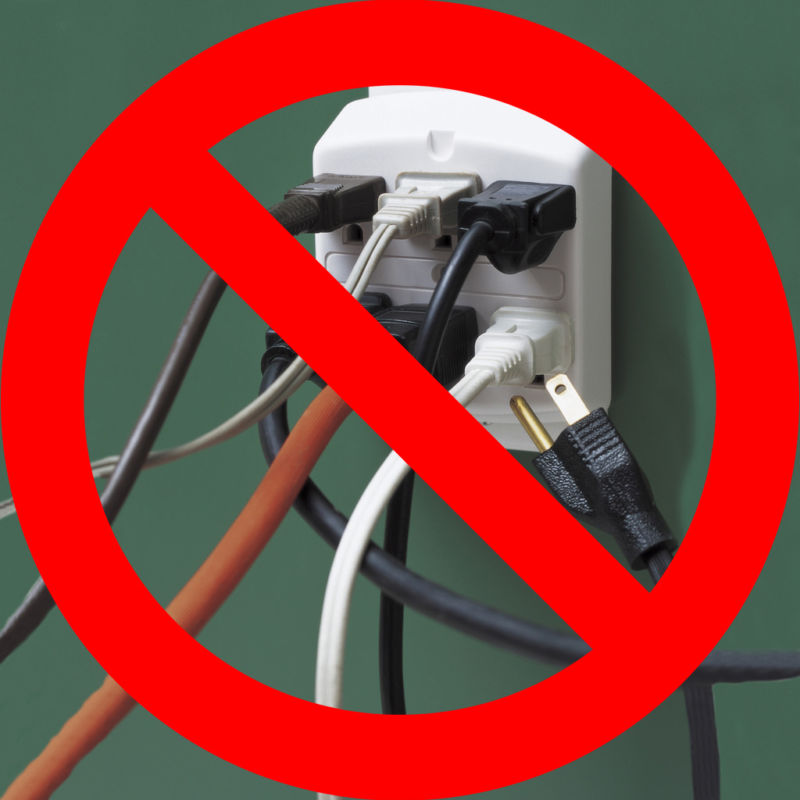 A reminder not to plug too many items into the same outlet.