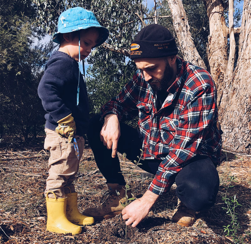 A young boy and an adult plant a tree in the ground.