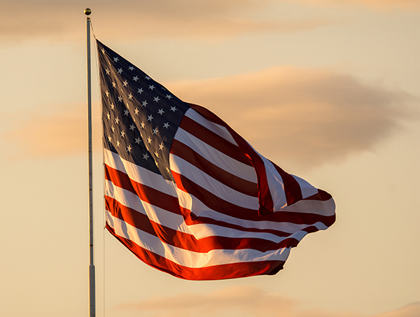 The United States flag flies.