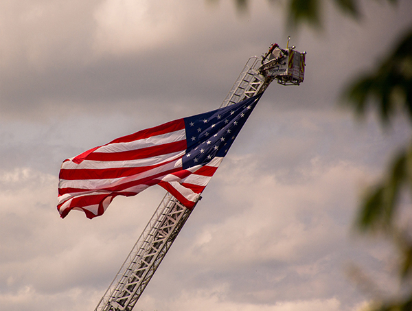 The American flag hangs high in Scappoose.