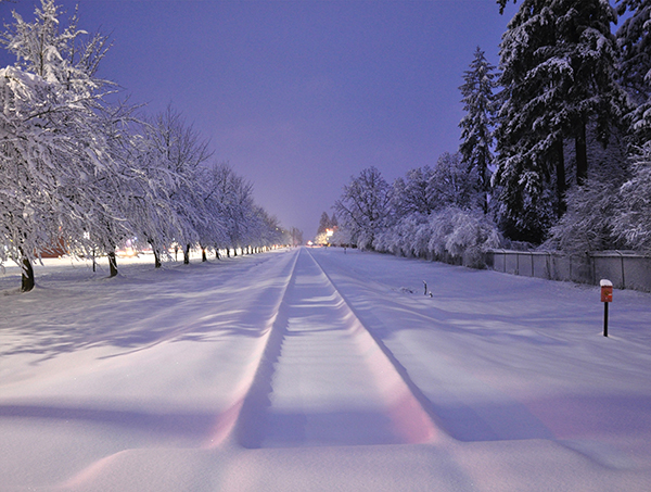 Snow covers the railroad tracks in Scappoose.