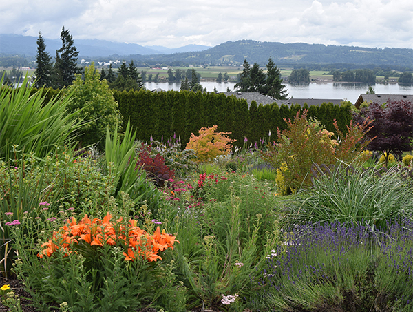 A garden landscape with the Columbia River in the background.