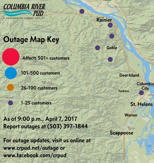 April 7, 2017 Outage Update – Columbia River PUD
