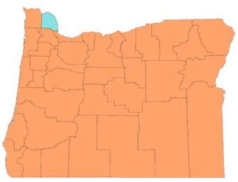 Map of Oregon Counties, highlighting Columbia County